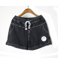 Cotton Denim High Waist Shorts side slit plain dyed Solid black Sold By PC