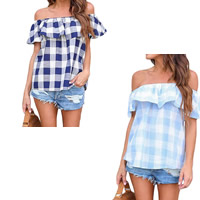 Spandex & Polyester Women Short Sleeve Blouses backless off shoulder & loose patchwork plaid Sold By PC