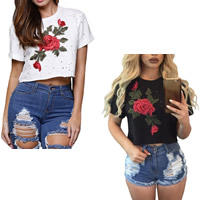 Spandex & Polyester Crop Top Women Short Sleeve T-Shirts loose & hollow embroider floral Sold By PC