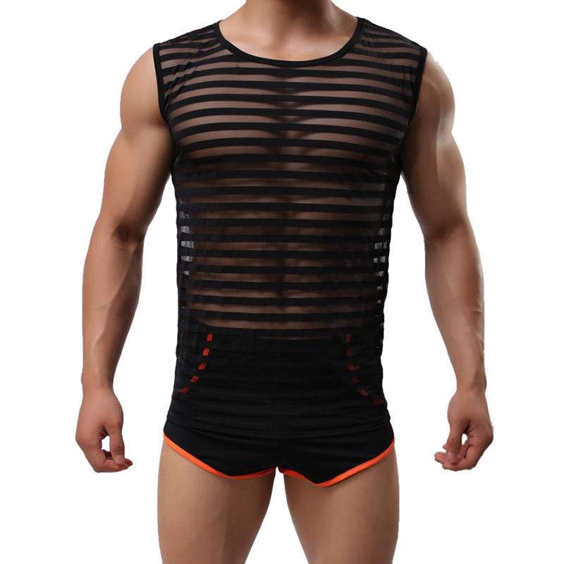 df5eb16441 Gauze   Spandex Men Body Shaper Vest   transparent with Nylon stripe - YYW