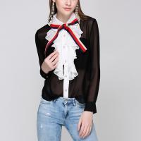 Gasa & Poliéster Mujer camisa de manga larga, labor de retazos, Sólido, negro,  trozo