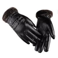 PU-leer Mannen handschoenen Jacquard Solide Zwarte stuk