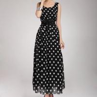Chiffon & Cotton One-piece Dress large hem design & with belt patchwork dot black Sold By PC