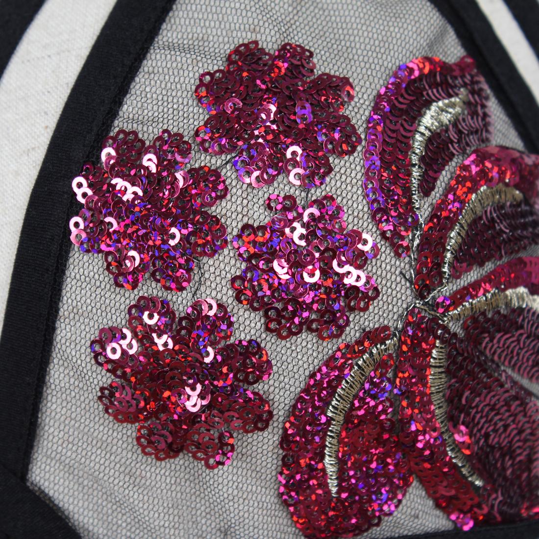 b6c32036da997 Acrylic   Spandex Bralette see through look floral fuchsi - YYW