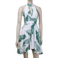 Poliéster & Algodón Vestido de una pieza, impreso, patrón de hoja, blanco y verde,  trozo