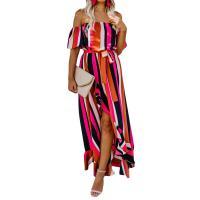 Elastic Fiber One-piece Dress irregular & side slit & backless & with belt & off shoulder printed striped fuschia PC