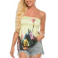 Spandex & Polyester Slim Tube Top backless & off shoulder & breathable printed floral PC