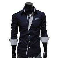 Gemengde stof & Katoen Mannen long sleeve casual shirts Lappendeken Solide meer kleuren naar keuze stuk