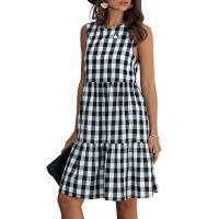 Polyester & Baumwolle Einteiliges Kleid, Plaid, mehr Farben zur Auswahl,  Stück